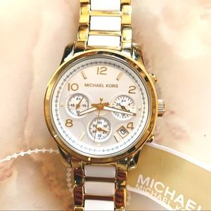 michael kors gold/white two-tone chronograph watch